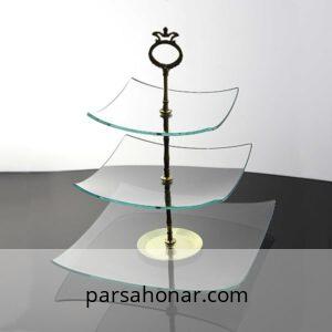 ظرف شیشه ای سرو مربع لبه دار